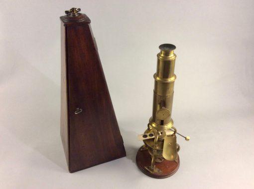 An English brass & mahogany Culpeper microscope c.1880